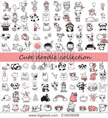 Cute doodle collection. Simple design of cute animals, birds, flowers and other design elements perfect for kid's card, banners, stickers and other kid's things.