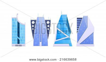 Cityscape, urban landscape. Set various city buildings, high-rise buildings, skyscrapers, popular business centers. Eco friendly, smart city. Real estate urban architecture. Vector flat illustration.