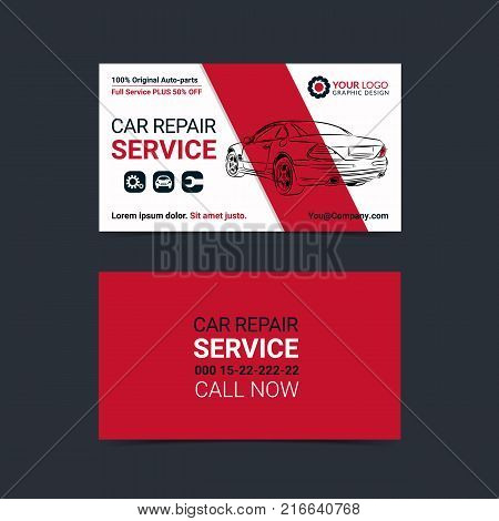 Automotive Service Business Cards Layout Templates Create Your Own Mockup Vector Illustration