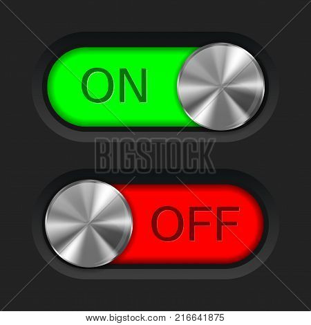 Toggle slider. On and off. User interface buttons. Vector illustration