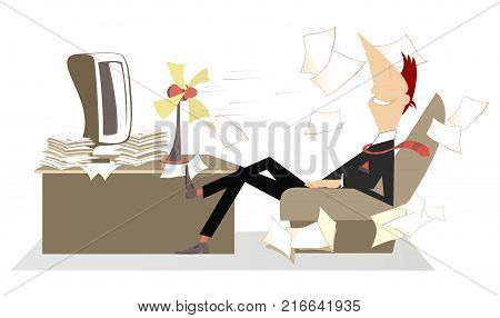 Heat in the office, man, fan and flying away papers. Man in the office sits in the armchair in front of the tabletop fan and takes a delight from the fresh air