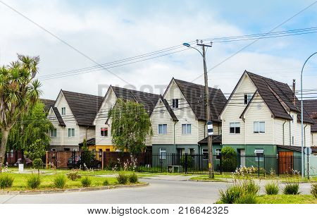Typical neighborhood for middle class in Valdivia Chile