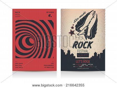 Set of Rock Music Flyer Layout templates. Mockup Vector illustration.