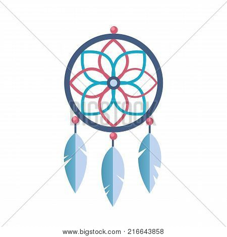 Ancient magic symbol of the tribe, spiritual amulet with patterns and feathers. Sacred folk Indian ancient sleep protection. Magic totem, amulet. Vector flat illustration.