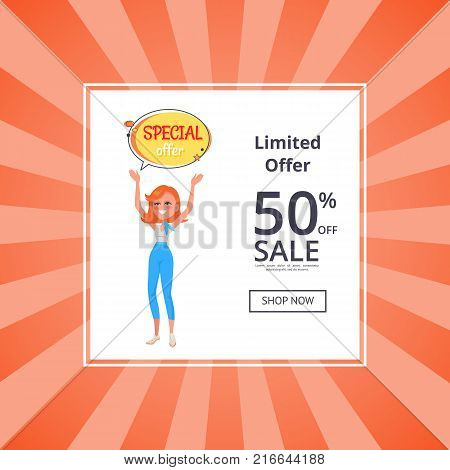 Unlimited offer 50 percent off web poster with button shop now, woman holding hands up, sticker with special offer, vector girl and speech bubble
