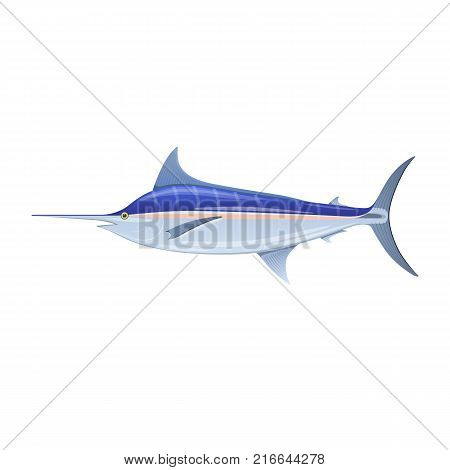 Sailfish blue marlin, swordfish with long thin nose. Colorful sea fish, swimming on blue deep sea bottom. Eating, delicious menu, market fish, market, shop, fishery industry. Vector flat illustration.