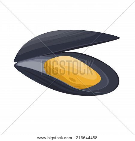 Fresh and tasty seafood appetizing mussel. Object, product, delicious sea food in restaurant, seafood for cooking, fishing. Ingredients for cooking. Vector flat illustration.