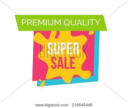 Premium quality super sale, logo with square and bolt that serves as frame to headline placed in centerpiece on vector illustration