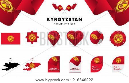 Kyrgyzstan complete set. Shapes set. Vector illustration.