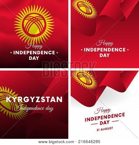Banner or poster of Kyrgyzstan independence day celebration. Super set. Waving flag. Vector illustration.