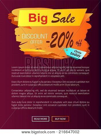 Big sale discount offer only today -20 off autumn best choice label on vector poster, advertisement promo banner with text, landing page design