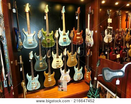 New York City, United States of America - May 02, 2016: Detail from Carmine Street Guitars shop in New York. In the store are handmade vintage style custom guitars by luthier Rick Kelly.