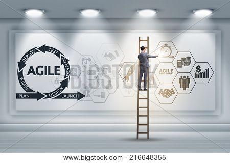 Businessman in agile software development concept