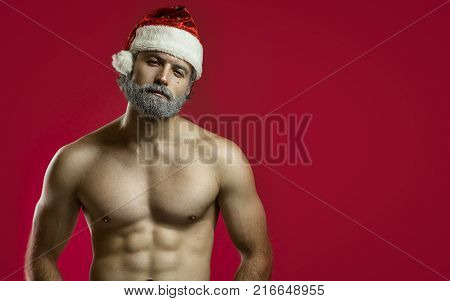 Tough bad santa claus concept. Copy space