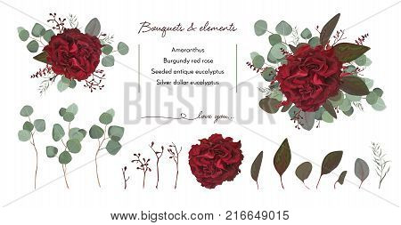 Vector floral bouquet design with: garden red burgundy Rose flower seeded Eucalyptus branch & silver green fern leaves Watercolor designer editable elements set. Marsala wedding invite card postcard