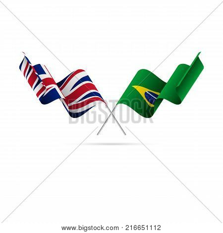 Great Britain and Brazil flags crossed. Vector illustration.