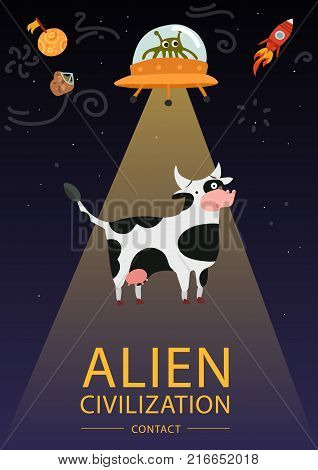 Flat design funny poster with alien flying saucer and cow vector illustration