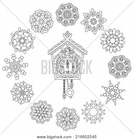 Christmas coloring page. Old antique wall clock with cuckoo bird singing and vintage winter snowflakes. Freehand sketch drawing for 2018 Happy New Year greeting card or adult antistress coloring book.