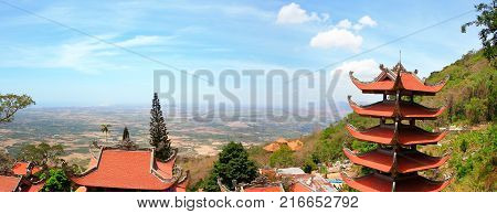 Panorama view of Pagoda of Nirvana Buddha on Ta Cu mountain in Vietnam It was formed on October 26 1996 in Tan Lap commune Ham Thuan Nam district about 30 km South East of Phan thiet.