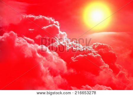 Sunlight in the Red Dramatic Clouds Area
