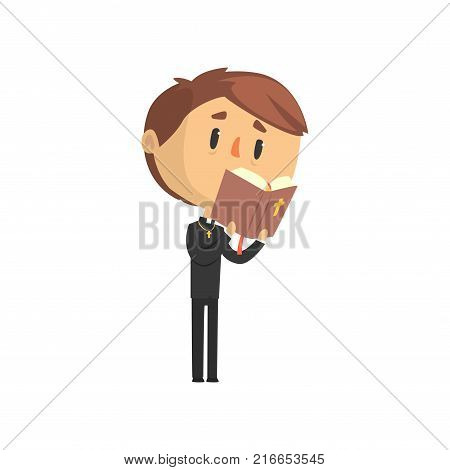 Young priest character reading bible book, catholic preacher, holy father cartoon vector illustration isolated on a white background