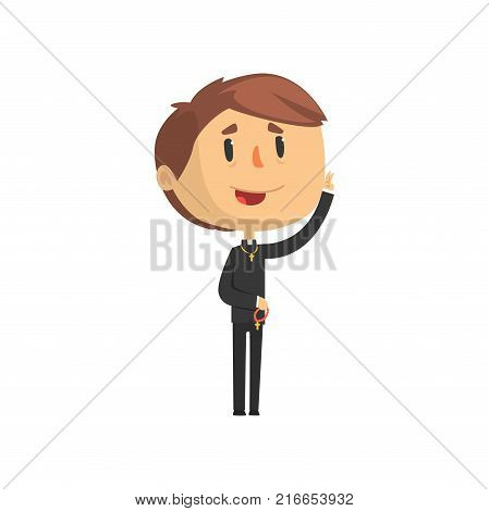 Young priest character blessing people, catholic preacher, holy father in robe cartoon vector illustration isolated on a white background