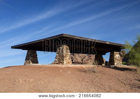 A rest stop on the trail at Papago Park in Phoenix
