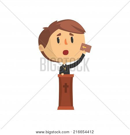 Priest character giving speech from tribune, catholic preacher, holy father in robe cartoon vector illustration isolated on a white background