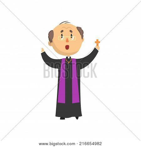 Priest character blessing people with cross, catholic preacher, holy father cartoon vector illustration isolated on a white background