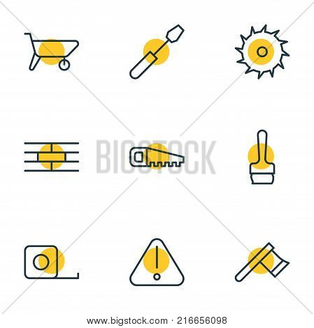 Vector Illustration Of 9 Construction Outline Icons. Editable Set Of Paintbrush, Measure Tape, Handcart Elements.