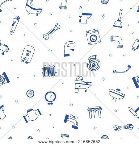 Plumbing service seamless pattern in blue color in hand drawn doodle style for site background, print design with plumber, faucet, pipe, sink, toilet
