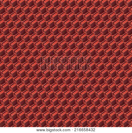 Abstract seamless isometric red colored cubes. Background pattern. 3d rendering