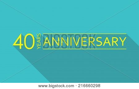 40 years anniversary template. 40 years celebration and congratulation design element. Vector illustration.