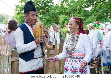 Yoshkar-Ola, Russia - June 25, 2016 Women in national Mari dresses at the Peledysh Payrem holiday in Yoshkar-Ola, Russia