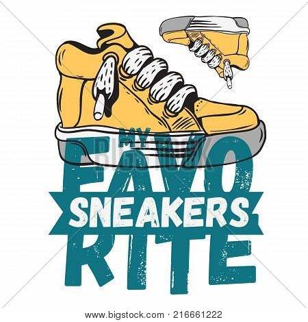 Sneaker Footwear Poster Label Sign Design Artistic Cartoon Hand drawn Sketchy Line Art Style On A White Background. Vector Graphic.