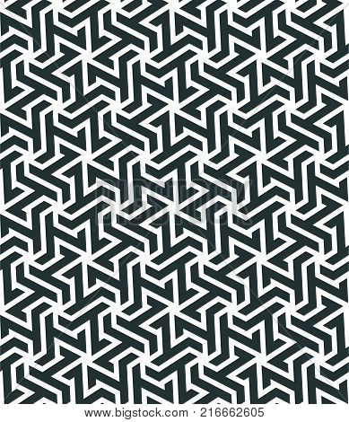 Seamless pattern with geometric tessellation style. Mosaic based on hexagonal mesh. Abstract geometric background.