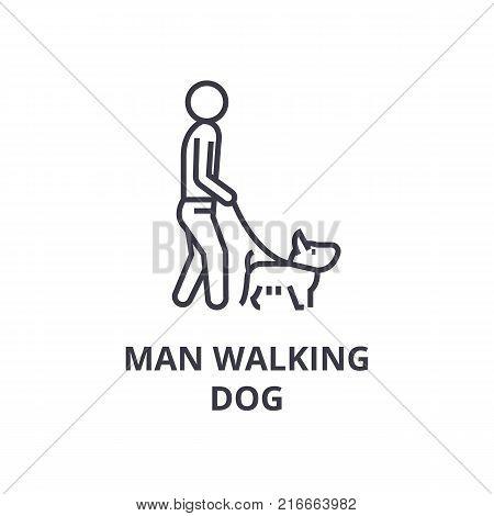 man walking dog line icon, outline sign, linear symbol, flat vector illustration