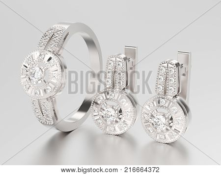 3D illustration set of white gold or silver decorative diamond earrings with hinged lock and decorative diamond ring on a grey background
