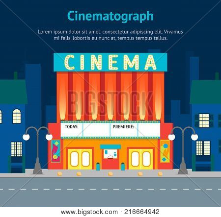 Cartoon Building Cinema on a City Landscape Background Card Poster Urban Architecture Exterior Facade. Vector illustration