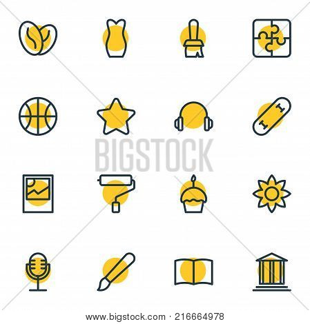 Vector Illustration Of 16 Lifestyle Outline Icons. Editable Set Of Brush, Paint Roller, Paintbrush And Other Elements.