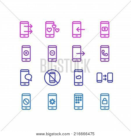 Vector Illustration Of 16 Phone Outline Icons. Editable Set Of Minus, Meteorology, Communication And Other Elements.