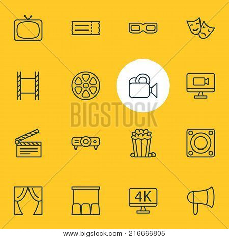 Vector Illustration Of 16 Movie Outline Icons. Editable Set Of Movie Reel, Tv, Slideshow And Other Elements.