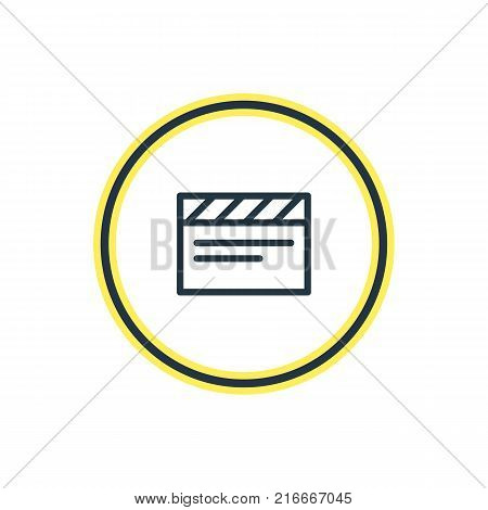 Vector Illustration Of Clapper Outline. Beautiful Music Element Also Can Be Used As Clapperboard Element.
