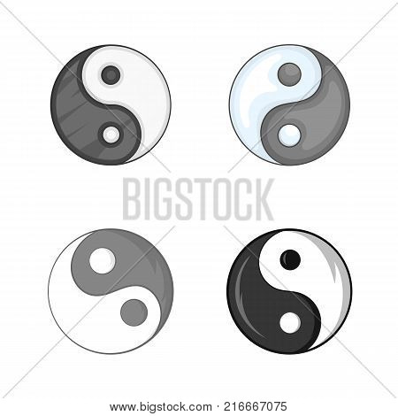 Yin yang symbol icon set. Cartoon set of yin yang symbol vector icons for your web design isolated on white background