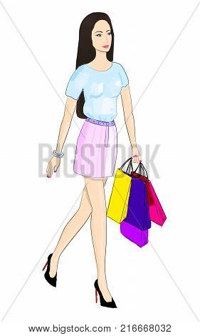 Picture of a young girl. Shopping. Girl with shopping. Brunette, long hair, girl in black shoes, pink skirt, blue T-shirt. Fashion illustration, beautiful girl. Vector EPS 10.