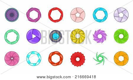 Shutter icon set. Cartoon set of shutter vector icons for your web design isolated on white background