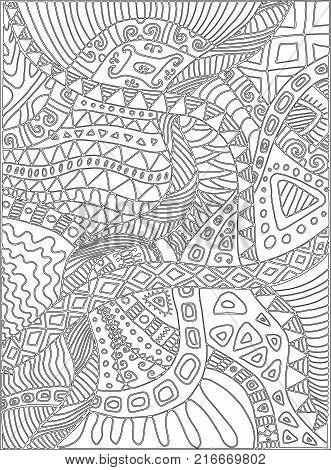 Coloring page with scribbles, plants, pattern. Vector hand drawing illustration for adults or children. Decorative card, cartoon, doodle style.
