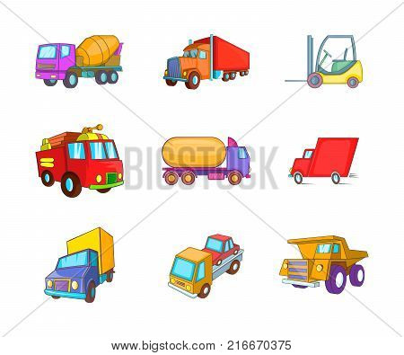 Truck icon set. Cartoon set of truck vector icons for your web design isolated on white background