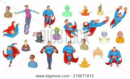 Super heroes icon set. Cartoon set of super heroes vector icons for your web design isolated on white background