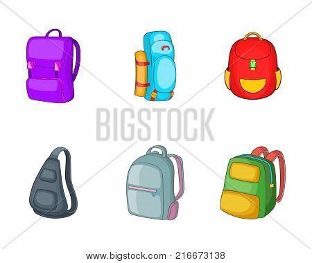Backpack icon set. Cartoon set of backpack vector icons for your web design isolated on white background